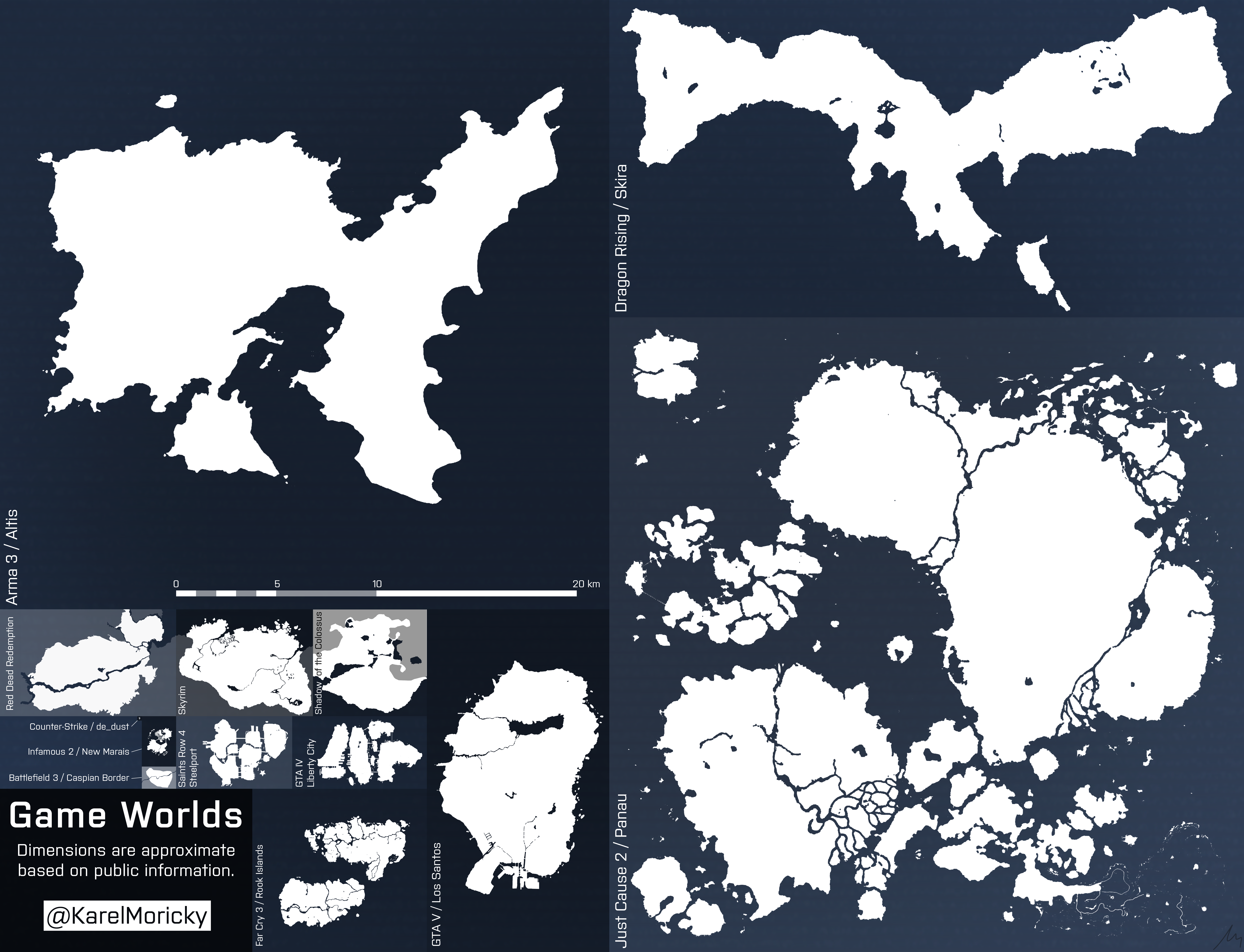Video game terrains karel moick i updated the game worlds comparison image after numerous requests for just cause 2s panau island the recently leaked map of gta vs los santos gumiabroncs Gallery